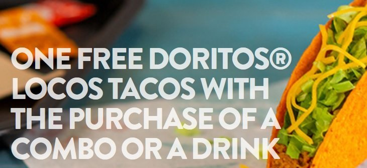 Taco Bell Free Doritos Locos Tacos With Combo or Drink Purchase Promotion image