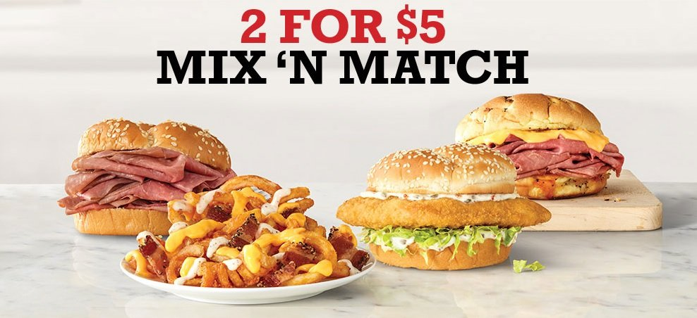 Arby's 2 for $5 Mix 'N Match deal