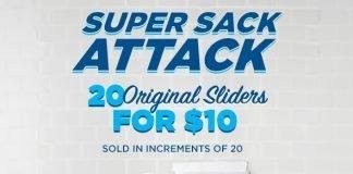 White Castle Super Sack Attack 20 Sliders for 10 Bucks