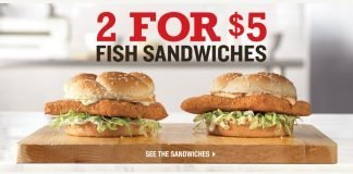 Arby's 2 for $5 Fish Sandwiches deal