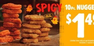 Burger King 10 Piece Spicy or Original Chicken Nuggets deal