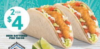 Del Taco 2 for $4 beer battered fish tacos deal