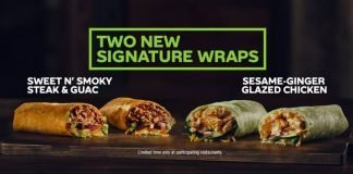 Subway new Sesame Ginger Glazed Chicken Wrap and Sweet N' Smoky Steak & Guac Wrap