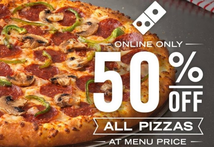 50 percent off Domino's pizzas this week