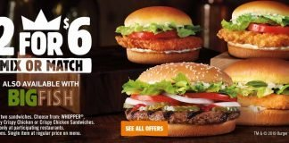 Burger King 2 for $6 Mix or Match deal is back