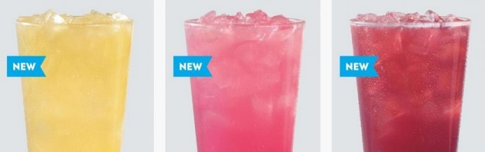 Wendy's new Peach, Tropical Berry and Wildberry Lemonades