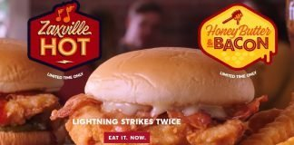 Zaxby's Zaxville Hot and Honey Butter & Bacon sandwiches