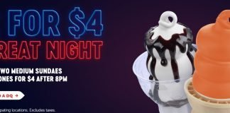 Dairy Queen 2 for $4 Treat Night After 8 promo hero