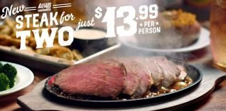 Logan's Roadhouse new Sizzlin' Steak for Two