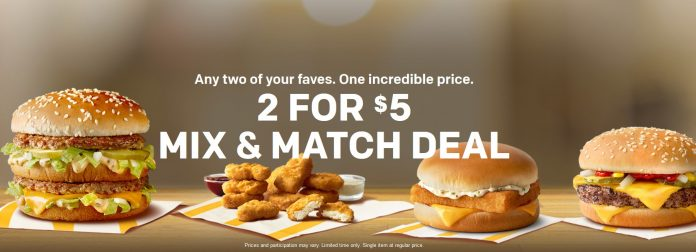 McDonald's 2 for $5 Mix and Match Deal is back