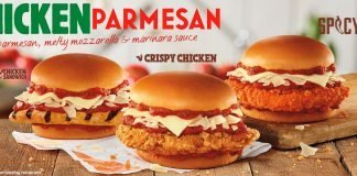 Burger King's three new Chicken Parmesan Sandwiches side by side