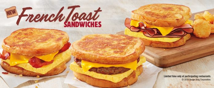 All three new Burger King French Toast Sandwiches