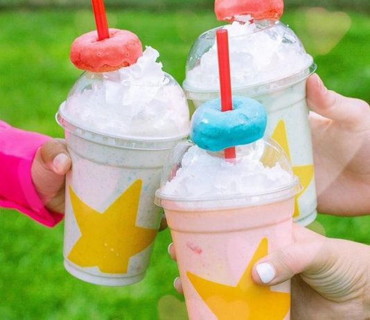 three Froot Loops Mini Donut Milkshakes with different colors