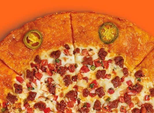 Little Caesars Chorizo Quesadilla Pizza cut in half