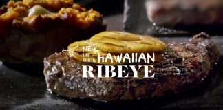 LongHorn Steakhouse new Fire-Grilled Hawaiian Ribeye with pineapple slices on top