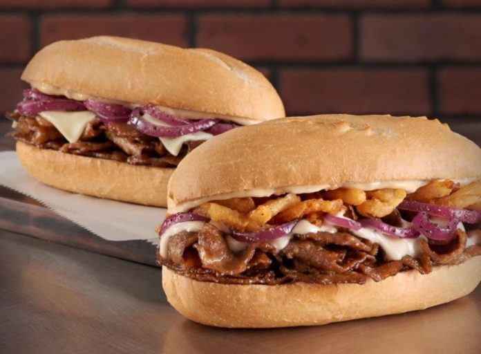 Checkers and Rally's New Steak Subs side by side