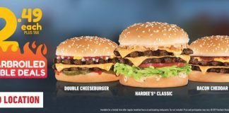 Hardee's new $2.49 Charbroiled Double Deals hero