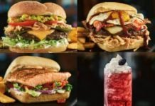Red Robin new Livin' Fajita Loca Burger, Red-Eye Rambler Burger, Tuscan Salmon and Blackberry Cream Soda