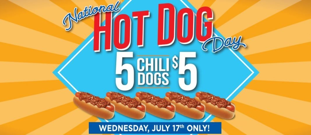 5 Chili Dogs for $5 Wienerschnitzel National Hot Dog Day promo