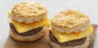 Two Sausage, Egg and Cheese Biscuits