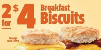 Jack In The Box new 2 for $4 Breakfast Biscuits Deal