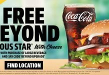 Carl's Jr. Free Beyond Famous Star with Cheese with Purchase of Large Beverage