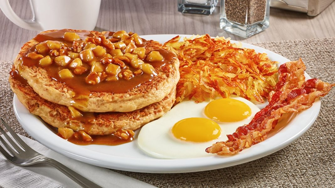 Denny's new Apple Bourbon Pancake Breakfast from the Big Bourbon Flavors menu
