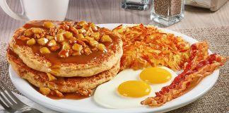 Denny's new Apple Bourbon Pancake Breakfast from the Big Bourbon Flavors menu