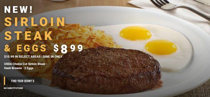 Denny's new Sirloin Steak & Eggs $8.99 deal