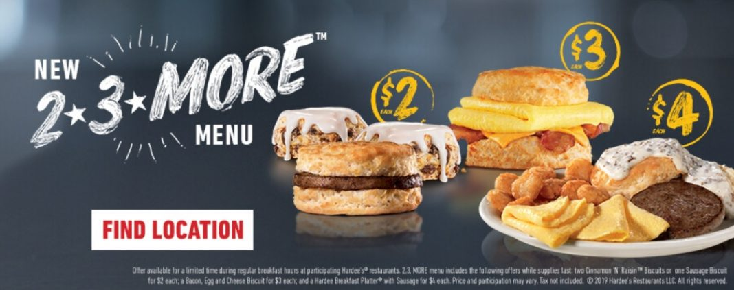 Hardee's new $2, $3, and More Menu
