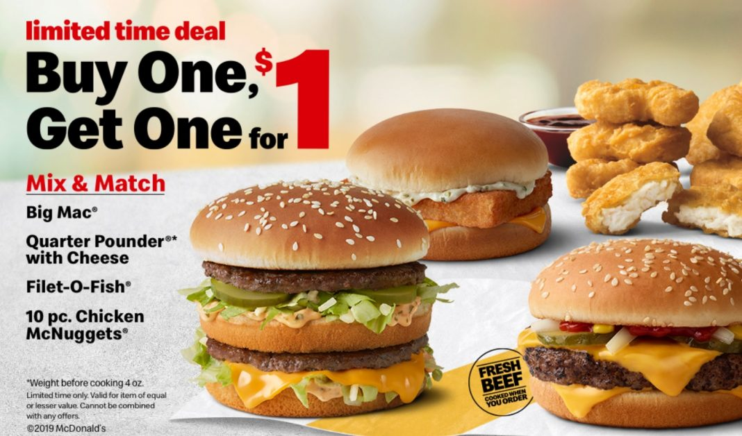 McDonald's new Buy One, Get One for $1 deal