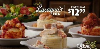 Olive Garden new Lasagna Mia with Four-Cheese Lasagna Rollata