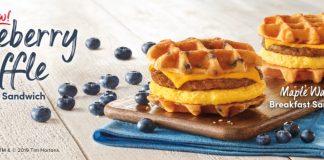 Tim Hortons new Blueberry Waffle Breakfast Sandwich