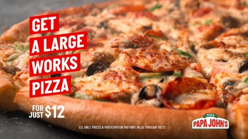 Papa John S Offers New 12 Large Meats Or Works Pizza Deal The Fast Food Post