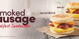 Tim Hortons new Smoked Sausage Breakfast Sandwiches hero