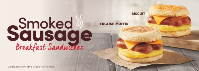 Tim Hortons new Smoked Sausage Breakfast Sandwiches hero