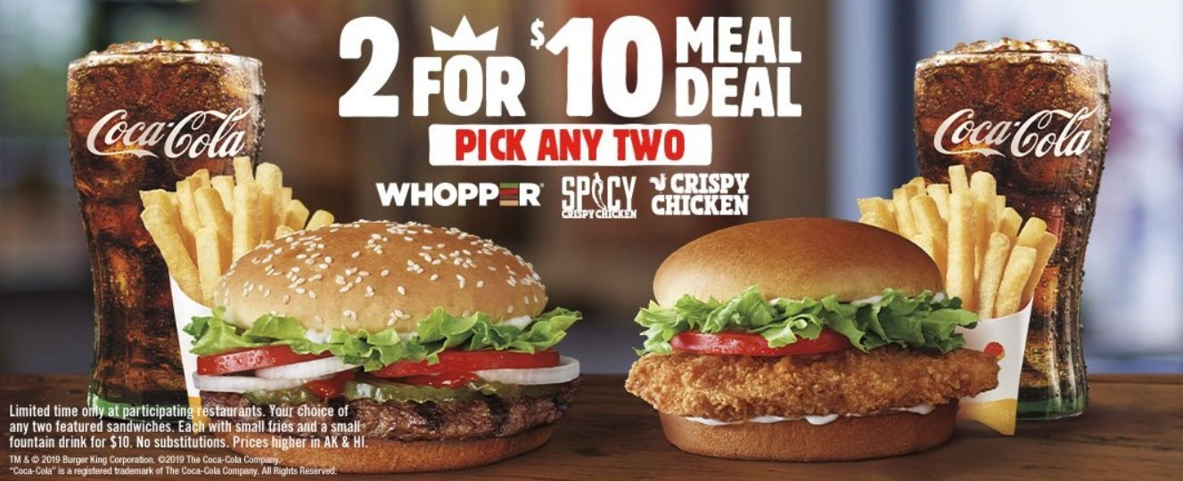 Burger King Brings Back 2 For 10 Meal Deal The Fast Food Post