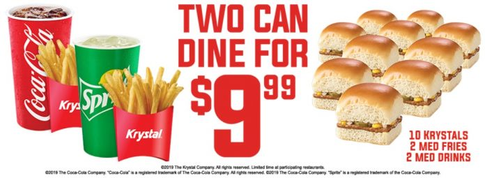 Krystal Offers New 2 Can Dine For $9.99 Deal