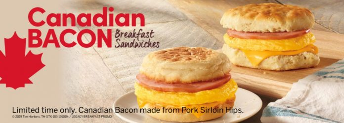 Tim Hortons new Canadian Bacon Breakfast Sandwiches hero