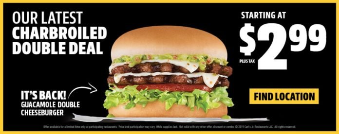 Carl's Jr. brings back Guacamole Double Cheeseburger hero