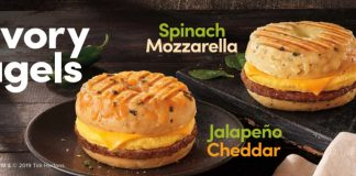 Tim Hortons New Cheddar Jalapeño And Mozzarella Spinach Bagel Breakfast Sandwiches hero