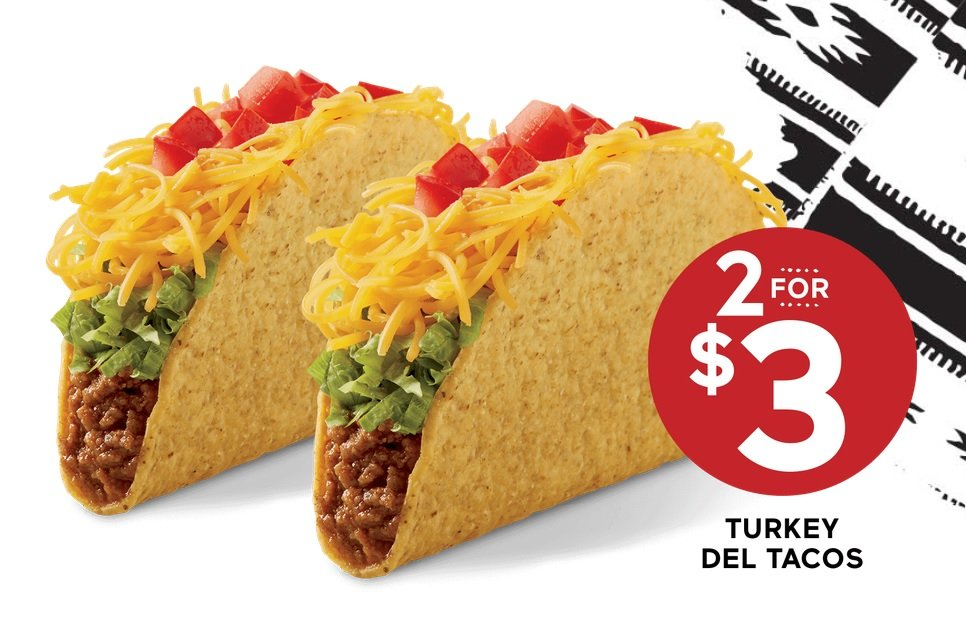 Del Taco 2 for $3 Turkey Del Tacos hero