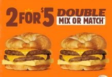 Burger King New 2 For $5 Double Mix Or Match Breakfast Sandwiches deal hero