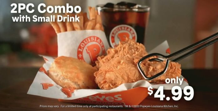 Popeyes New $4.99 2-Piece Combo deal hero