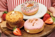 Tim Hortons New Strawberry Dip Donut And Strawberry Cheesecake Muffin & Donut