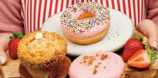 Tim Hortons New Strawberry Dip Donut And Strawberry Cheesecake Muffin & Donut
