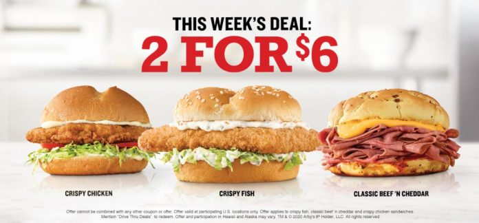 Arby's 2 Sandwiches For $6 New Drive Thru Deals Promotion hero