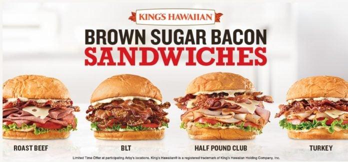 Arby's King's Hawaiian Brown Sugar Bacon Sandwiches hero