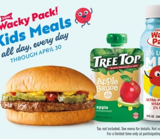 Sonic $1.99 Wacky Pack Kids Meals All Day, Every Day deal hero