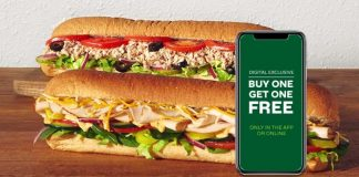 Subway Buy One Get One Free (BOGO) digital exclusive deal hero